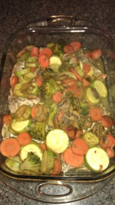 Top salmon with the vegetables. Bake 5-7 mins.