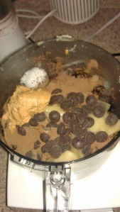 Place all the brownie ingredients in the food processor.