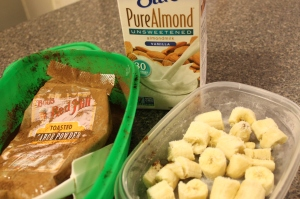 Unsweetened almond milk, frozen bananas, and carob powder.